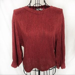 Lush Brand Burgundy Crinkle Blouse Red Size Large